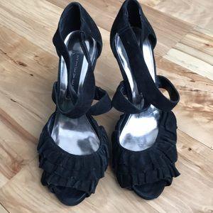 Steve Madden Suede Black Heels Sandals Size 7